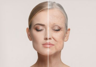 Comparison. Portrait of beautiful woman with problem and clean skin, aging and youth concept, beauty treatment and lifting. Before and after concept. Youth, old age. Process of ageing and rejuvenation